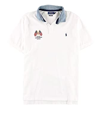 Polo Ralph Lauren Men\u0027s White USA Flag Pony Short Sleeve Mesh Polo Shirt at  Amazon Men\u0027s Clothing store: