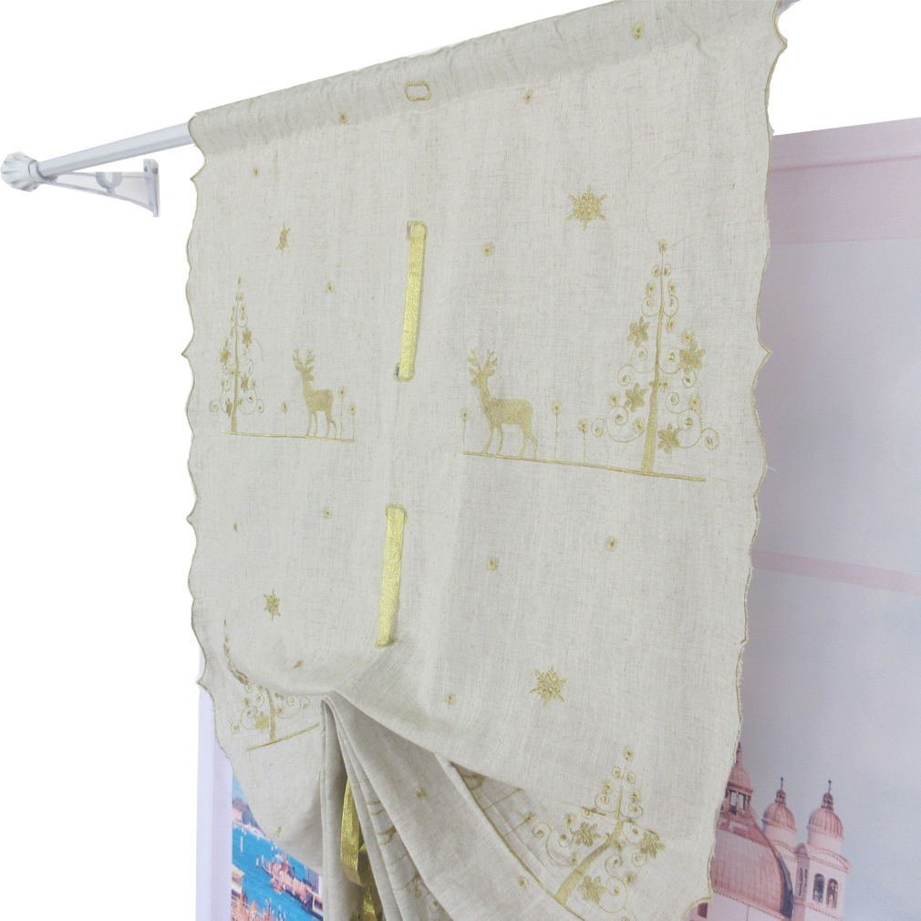 ZHH Balloon Shades Christmas Elk Embroidered Linen Tie-Up Home Decor Window Curtain Gold 32-inch by 68-inch