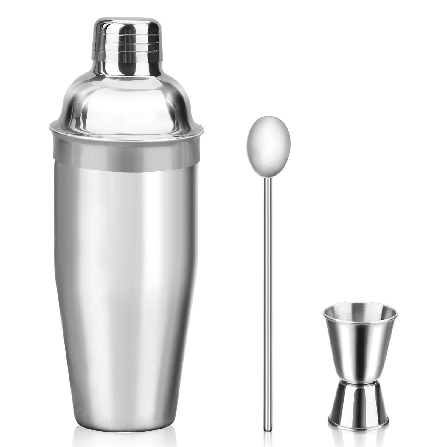 Mngarista 24 oz Cocktail Shaker Set - Drink Shaker - Bartender Kit - Stainless Steel Martini Shaker with Double Jigger and Stainless Steel Straw by Vria
