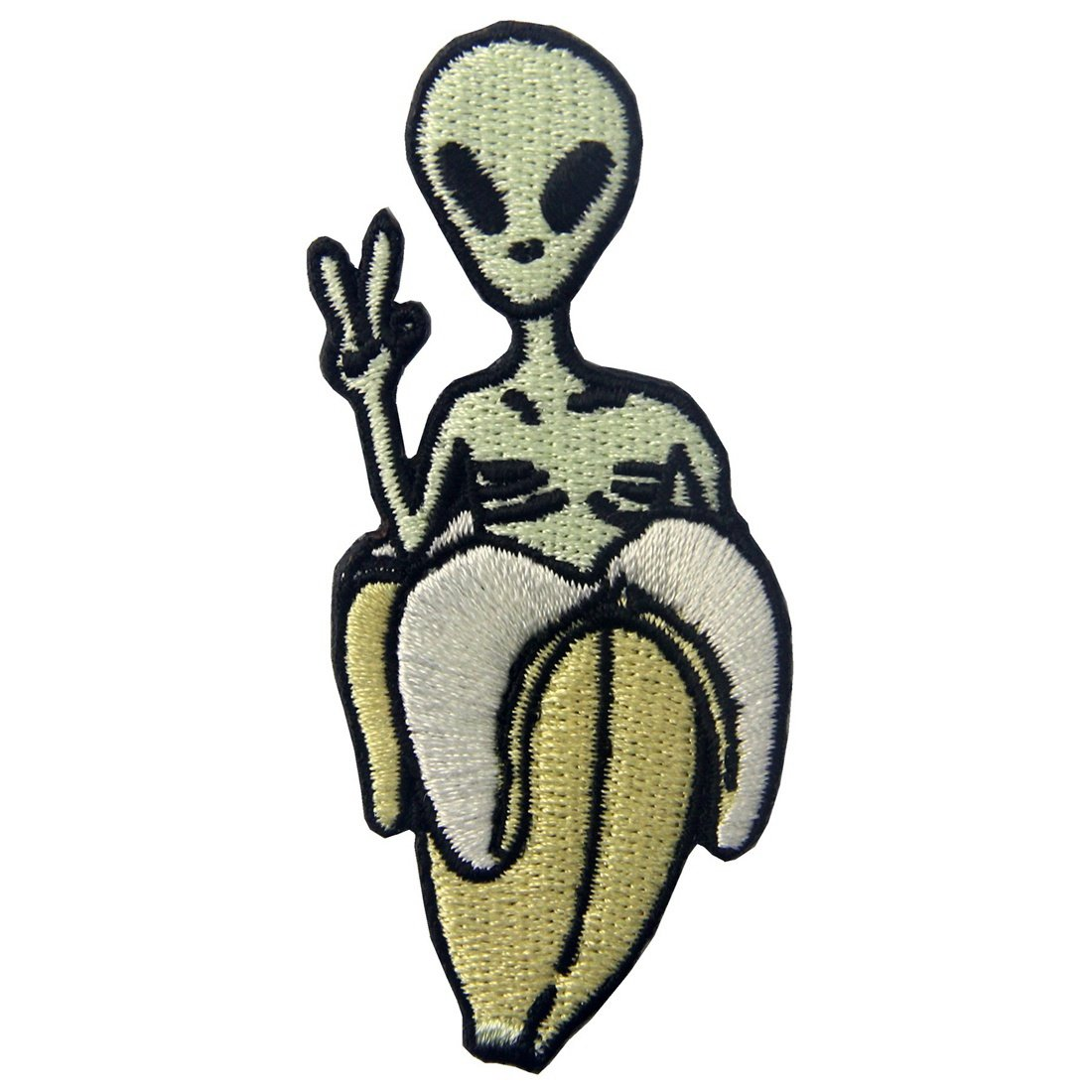 Alien In Banana Patch Embroidered Applique Iron On Sew On Emblem ZEGIN