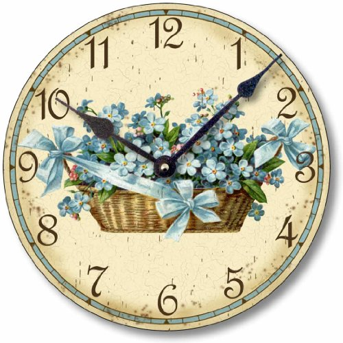 Shabby Chic Victorian Style  Inch Forget Me Nots Clock