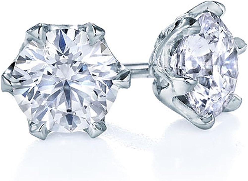 Pendientes de tuerca para mujer, con diamante, en platino (900)