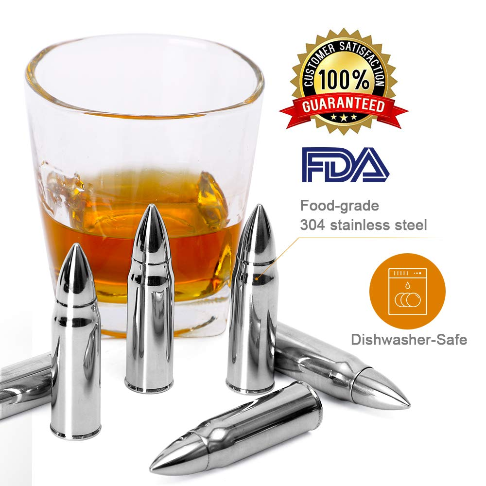7M Bullet-Shaped Whiskey Ice Stones – 6-Piece Set of Cooling Bullet Rocks with Revolver Barrel Support – Reusable Stainless-Steel Chilling Drink Cubes – Original Gift Idea for Men
