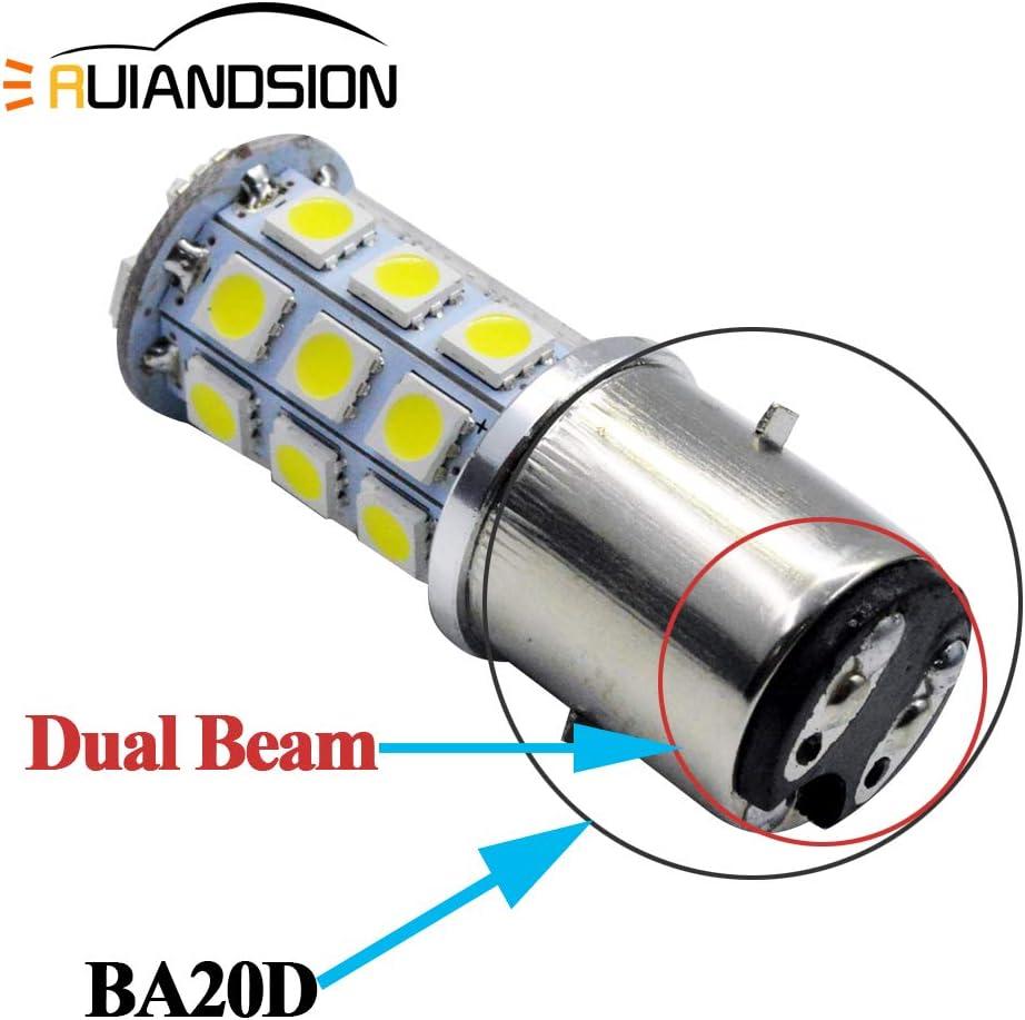 Ruiandsion 2pcs BA20D LED Ampoule De Phare De Moto 12V Super Lumineux 5050 27SMD Chipset LED Ampoule Haut Bas Faisceau 6000K Blanc