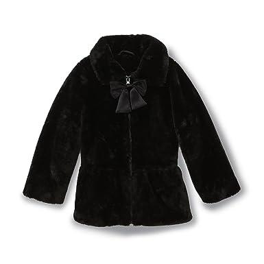 792e3db9a187e Toddler Girls WonderKids Black Faux Fur Dress Coat Jacket (18 Months)