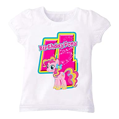 9cef9c0a My Little Pony Pinkie Pie With Birthday Pony And Number 4 Puff Sleeve T- Shirt