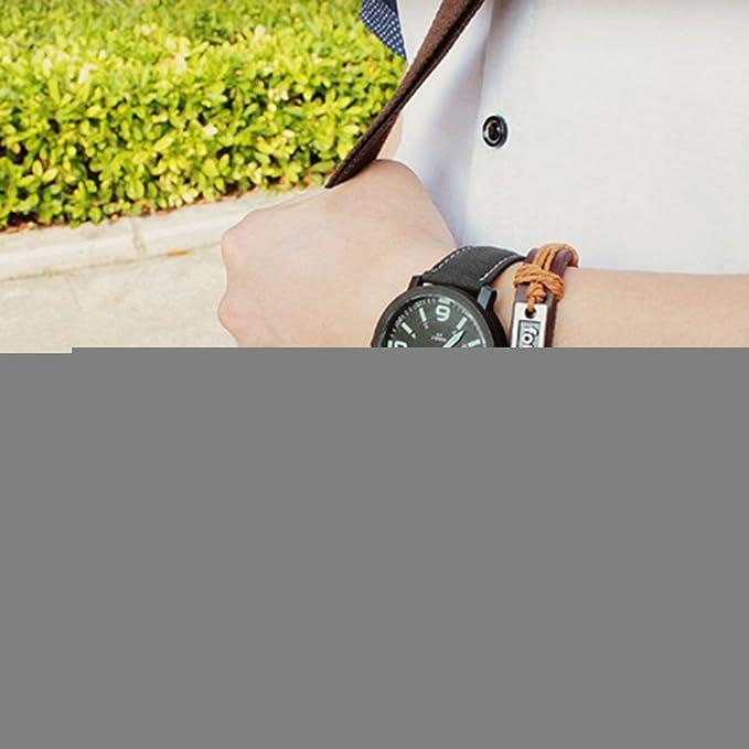 Amazon.com: YAZOLE Mens Luminous Faux Leather Strap Quartz Wrist Watch - Black Band Black Dial: Watches