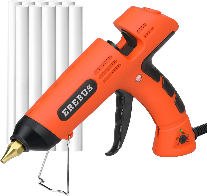 EREBUS Hot Melt Glue Gun w/ 10pcs Glue Sticks (SD-1101): Home Improvement