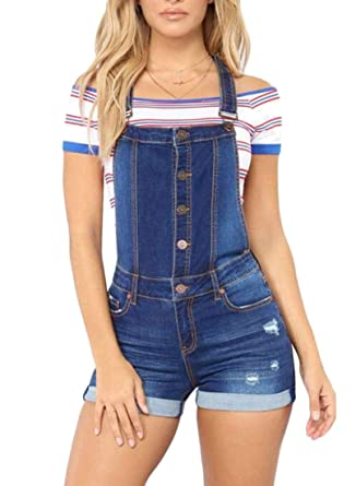 ef38125e28 Amazon.com: BYWX Women Button Up Denim Overalls Destroyed Ripped ...