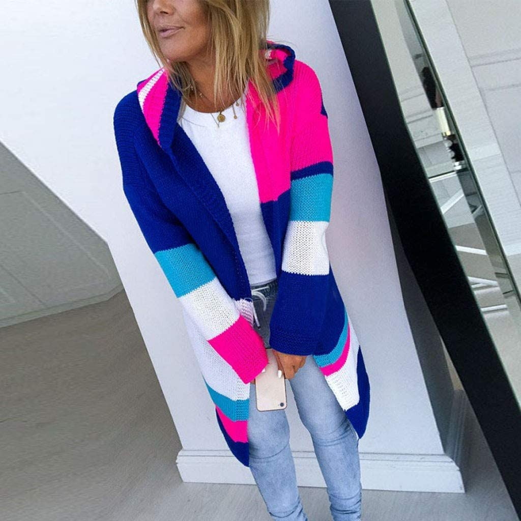 MEEYA Casual Multicolor Patchwork Sweater Cardigans Women Long Sleeve Open Front Knit Blouse Coat for Holiday
