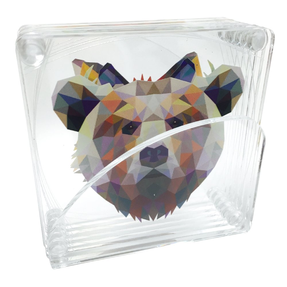 Acrylic 3.5'' Assorted Coasters: Rabbit, Fox, Racoon, Wolf, Bear and Deer - Animal Print With Clear Acrylic Stand (Set of 6)
