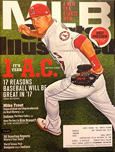 MIKE TROUT SPORTS ILLUSTRATED MARCH 2017 ANGELS MIKE TROUT, 2017 MLB PREVIEW DOUBLE ISSUE - NO LABEL ON COVER - (Labels Baseball)
