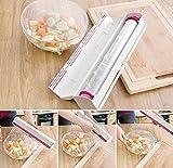 Whthteey Practical Plastic Food Wrap Dispenser Refillable Foil Cling Film Cutter