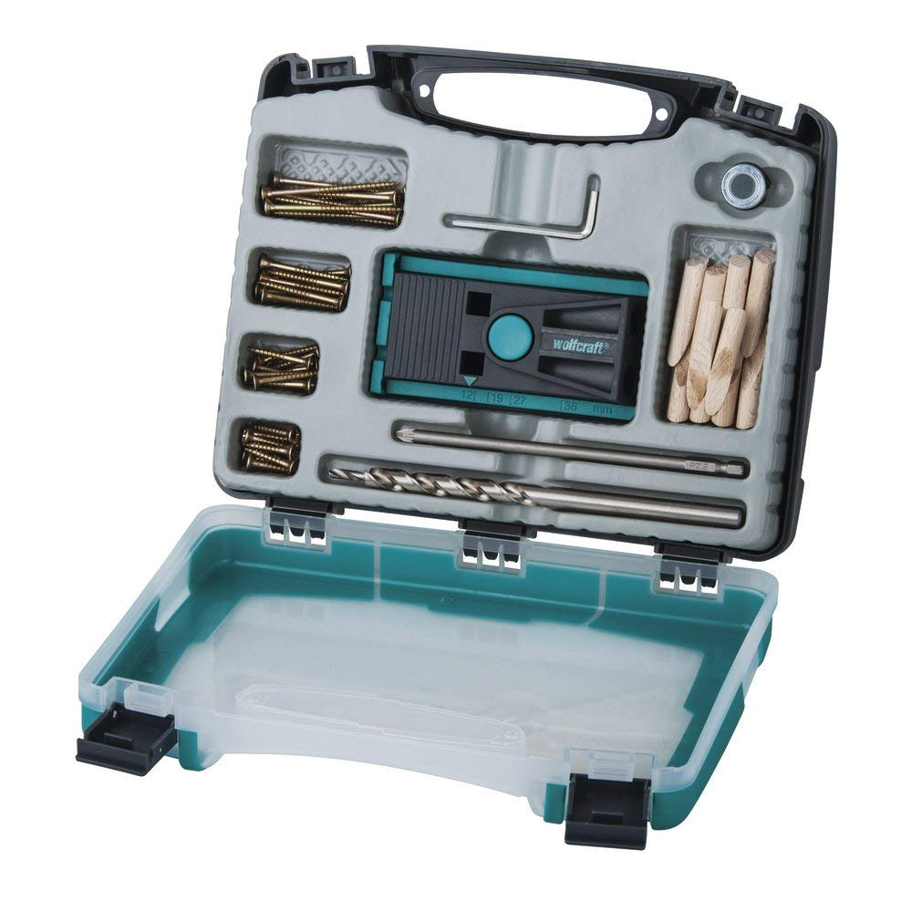 wolfcraft Pocket Hole Jig (reliable jig set with screws for wood joints and drilling pocket holes, in a practical plastic case) 4642000