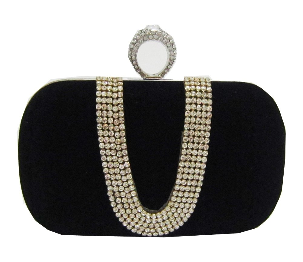 Chicastic Black Suede Rhinestone Studded One Ring Knuckle Duster Style Minaudiere Evening Cocktail Clutch Bag