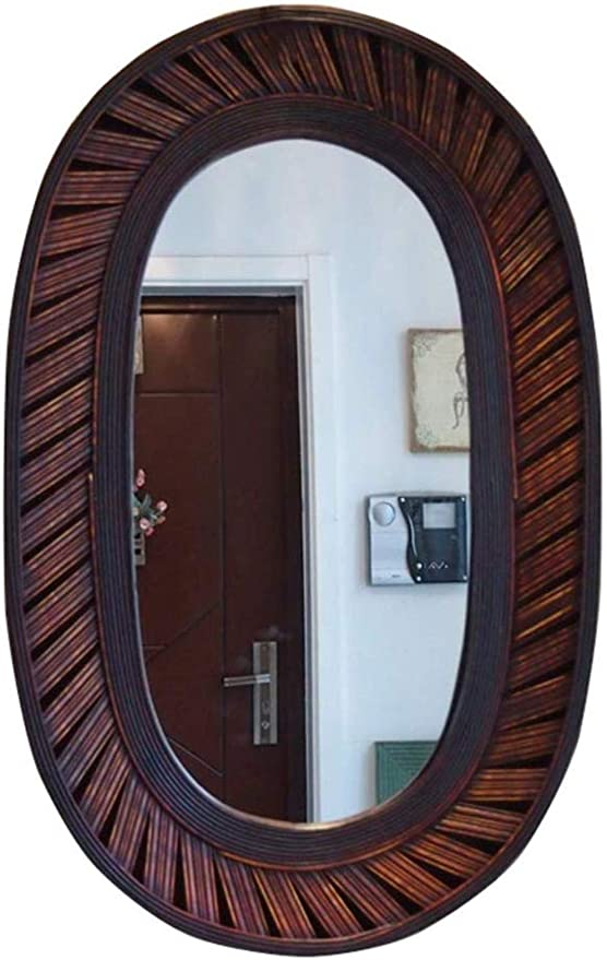 Amazon Com Gflyme Mirrors Rustic Chic Round Wall Silver Mirror Weaving Process Bamboo Border For Bathroom Lounge Hallway Round Color Oval Kitchen Dining