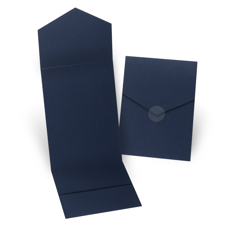 Fine Impressions 5.25'' x 7.3'' Pocket Folders, Navy Blue, 200 Count (RRJ5308)