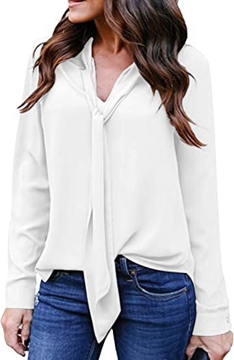 Auxo Camisas Mujer Sexy Blusas Cuello V con Corbata Mangas Largas de Oficina Tops Suelto Casual: Amazon.es: Ropa y accesorios