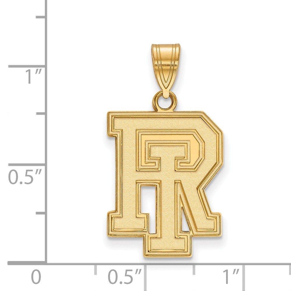 14k Yellow Gold University of Rhode Island Rams School Letters Logo Pendant