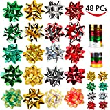 46 Christmas Gift Self Adhesive Bows & 8 Rolls of Christmas Curling Ribbons for Christmas Holiday Gifts, Bows, Baskets, Wine Bottles Decoration, Gift Wrapping and Decoration Presen...
