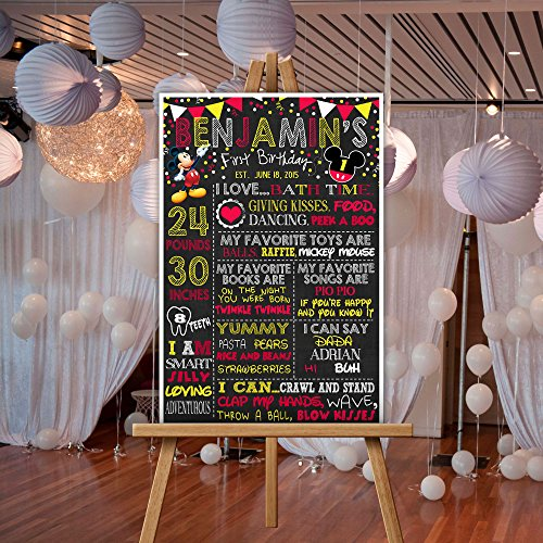 Mickey Mouse Milestone Stats First Birthday Chalkboard Poster Photo Prop