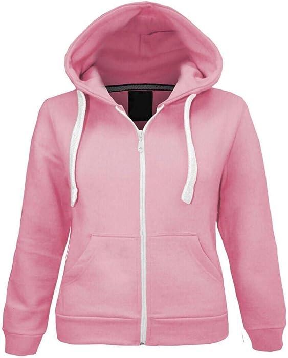 2291dc352fb9 Kids Girls   Boys Unisex Plain Fleece Hoodie Zip Up Style Zipper Age ...
