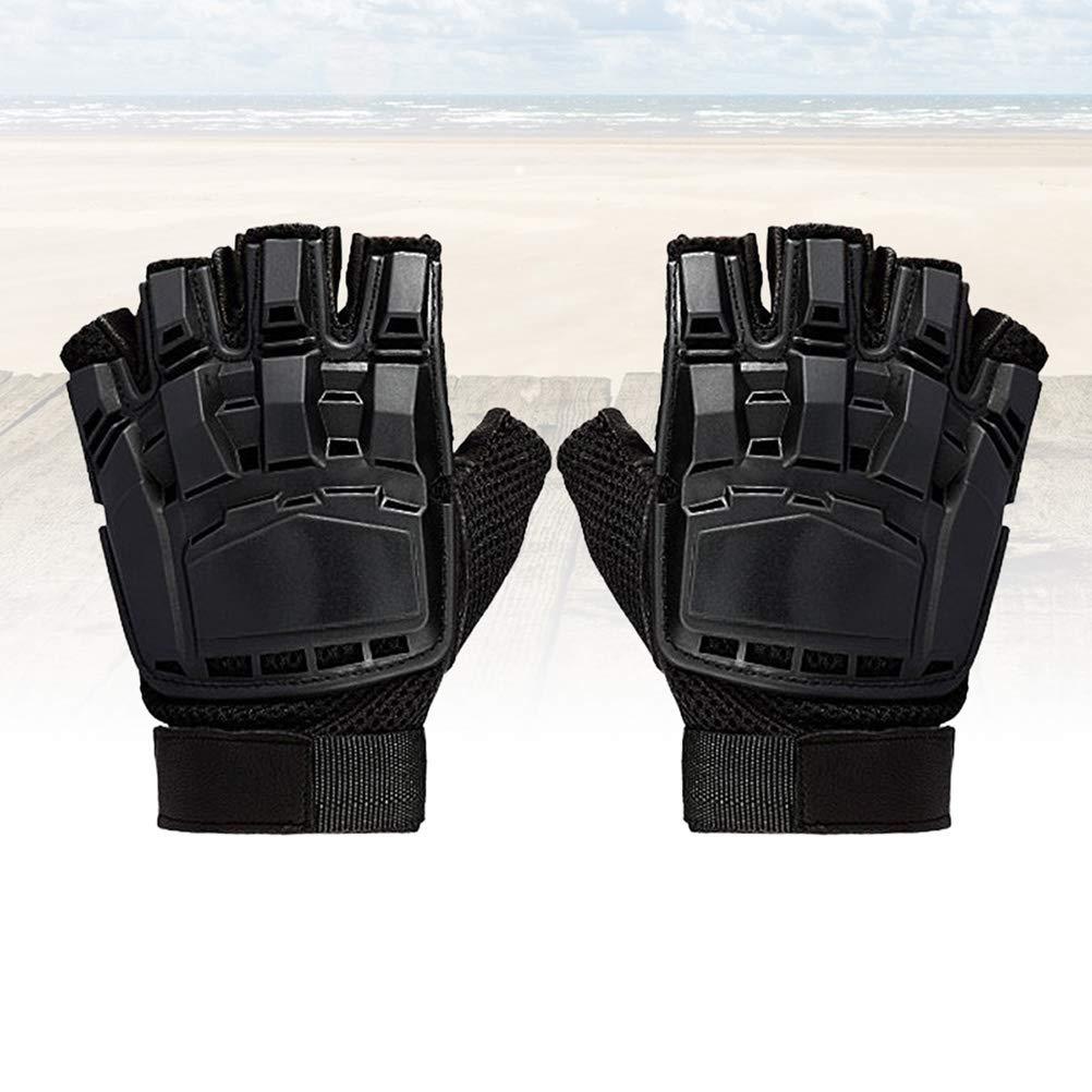 Noir, L LIOOBO Gants de Paintball Tactiques Demi-Doigts des Forces sp/éciales dou/és pour /équipement de Plein air Deformed mitaine de Protection en Cuir Magique