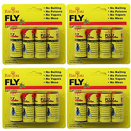 HATCHMATIC 16 Rolls Sticky Fly Paper Eliminate Flies Insect Bug Glue Paper Catcher Trap 4 Cards Sticky Fly Stickers Flying Insects F80: Light Grey