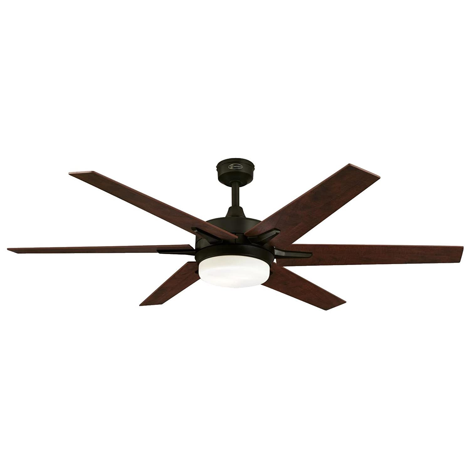 Westinghouse 7207800 Cayuga 60-Inch Oil Rubbed Bronze Indoor Ceiling Fan, Dimmable LED Light Kit with Opal Frosted Glass, Remote Control Included