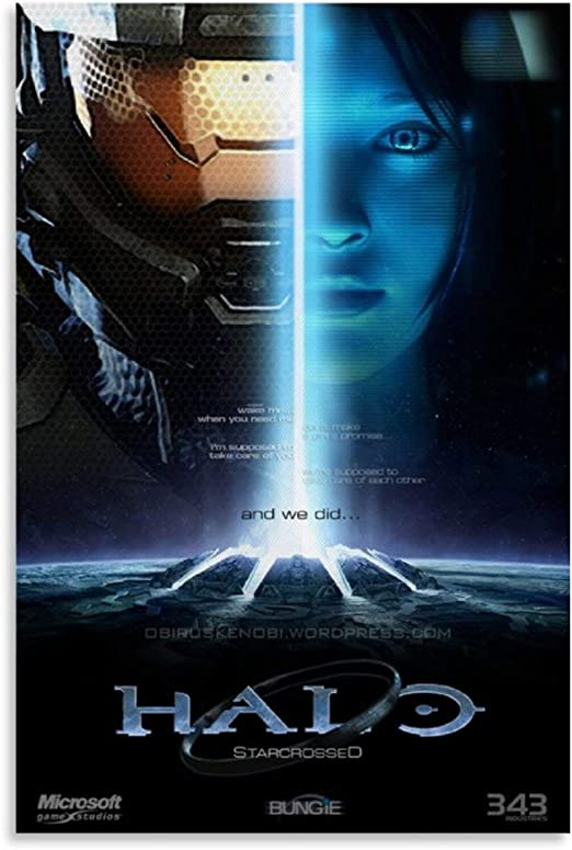 Halo Poster Master Chief And Cortana Canvas Art Poster and Wall Art Picture Print Modern Family bedroom Decor Posters 12x18inch(30x45cm)