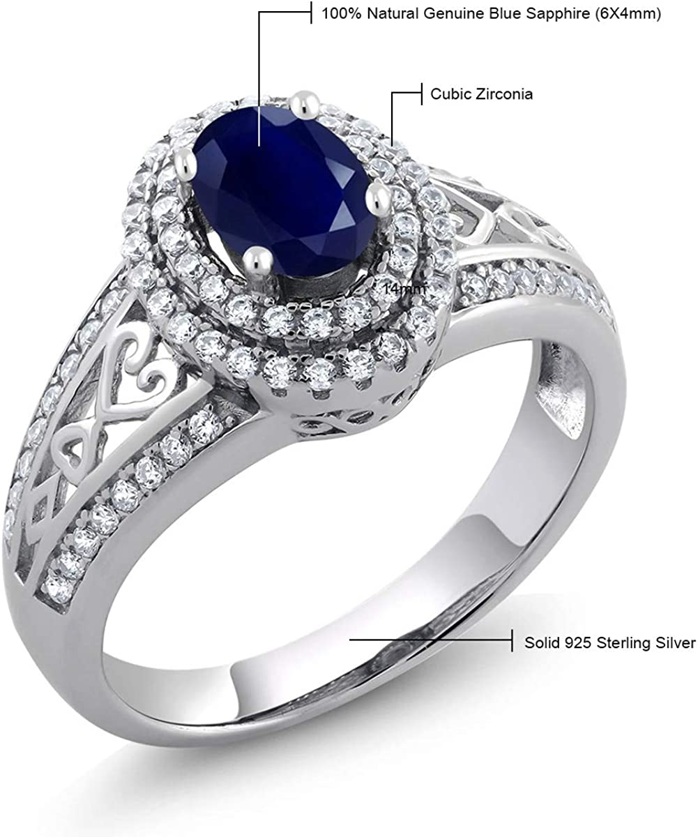 Statement Ring 925 Sterling Silver Trillion Blue Topaz for Women Size 5 Ct 1.41