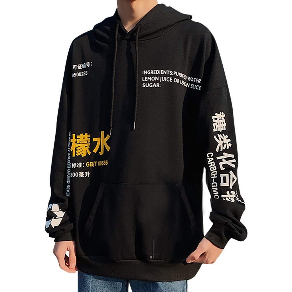 Men's Hoodie Casual Long Sleeve 2019 New Letter Printed Lightweight Sweatshirt with Pocket (US:8, Black)
