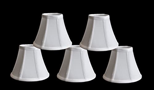 Urbanest Set of 5 Chandelier Mini Lamp Shades 5-inch, Bell, Clip On, Off White