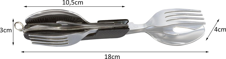 inluye funda Cuchillo cuchara tenedor abrebotellas Kadactive Set de cubiertos plegables de camping de acero inoxidable de 4 funciones