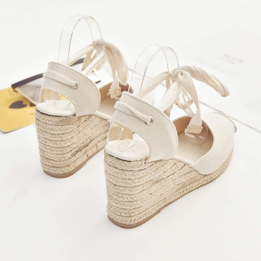 TIFENNY Women Spring Casual Wedge Sandals Bow Cross Strap High Heel Platform Pump Shoes Round Toe Weaving Sandals