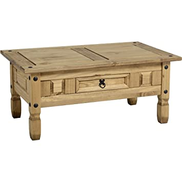 Antique Distressed Pine Coffee Table With Drawer By Centurion Pine