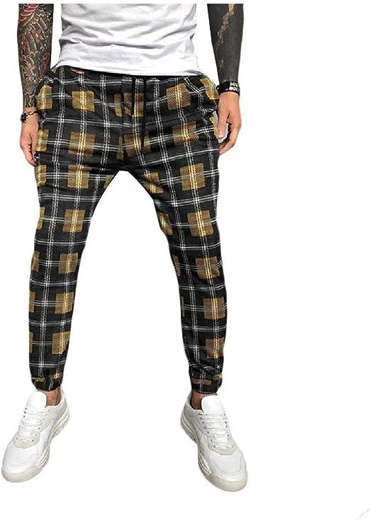 aicessess メン プレイド テーパー カジュアル ドローストリング ジョガー ファッション ハーレム パンツ