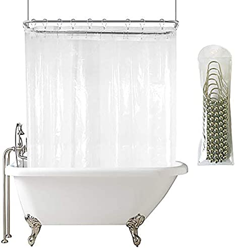 Extra Wide Shower Curtain Set 180x70 Inch All Wrap Around Transparent Shower Curtain Panel Peva For Clawfoot Tub Heavy Duty With 6 Magnets Amazon Ca Home Kitchen