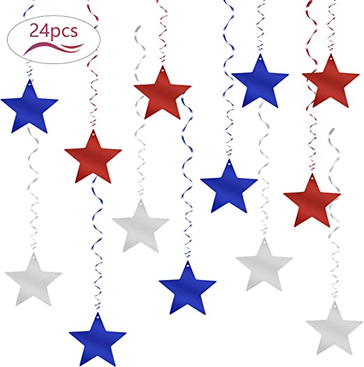 Star Hanging Swirls,LANMOK 24pcs Patriotic Party Swirls Decorations Glitter Foil Hanging Decor Blue Red Silver Hanging Whirls Ornaments for Birthday Wedding Party Supplies