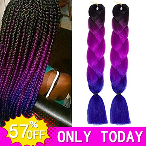 Hvaxing 24 Inch Ombre Jumbo Braiding Hair Extensions 2pcs Lot 100g