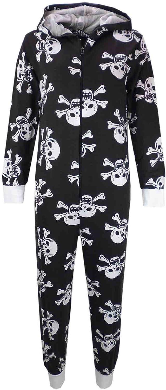A2Z 4 Kids/® Kids Unisex Girls Boys Skull /& Cross Bone Onesie All in One Halloween Costume Jumpsuit PJs Age 5-13 Years