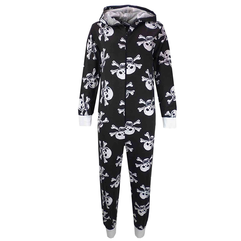 A2Z 4 Kids Kids Unisex Girls Boys Skull /& Cross Bone Onesie All In One Halloween Costume Jumpsuit PJs Age 5-13 Years