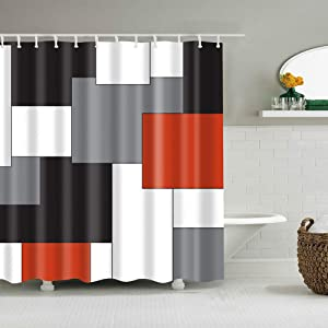 Boyouth Black,Grey,Rust Red,White Geometry Pattern Digital Print Shower Curtain for Bathroom Decor,Polyester Waterproof Fabric Bath Curtain with 12 Hooks,70x70 Inches,Multicolor