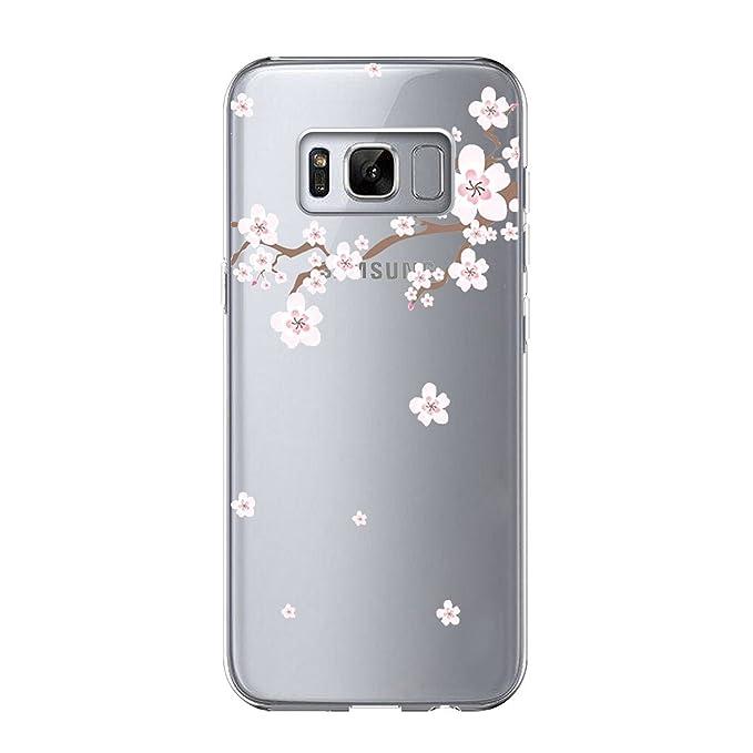 Samsung Galaxy S8 Funda Silicona, Samsung Galaxy S8 Carcasa Gel TPU Silicona Bumpe Case Flores de Cerezo Diseño Ultrafino Absorción de Golpes ...