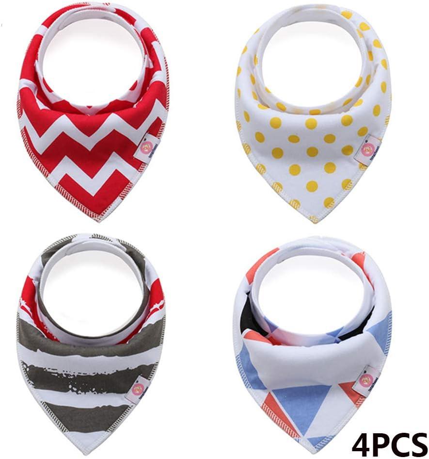 4pcs Cotton Triangle Bandana Baby Bibs Set Kid Soft Infant Feeding Girl