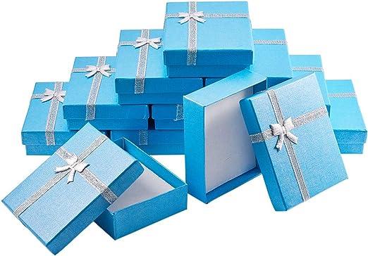 BENECREAT 12 Pack Cajas de Regalo Caja de Presentacion de Joyas para Collar Pendientes Aretes de Aniversarios, Bodas, Cumpleaños Azul -9x7x3cm: Amazon.es: Hogar
