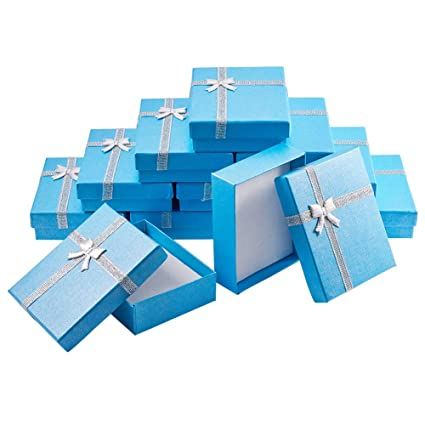 Benecreat 12 Pack Small Gift Boxes Jewelry Display Box For Jewelry Set For Anniversaries Weddings Birthdays Deepskyblue 3 54 X 2 75 X 1 18 Inches