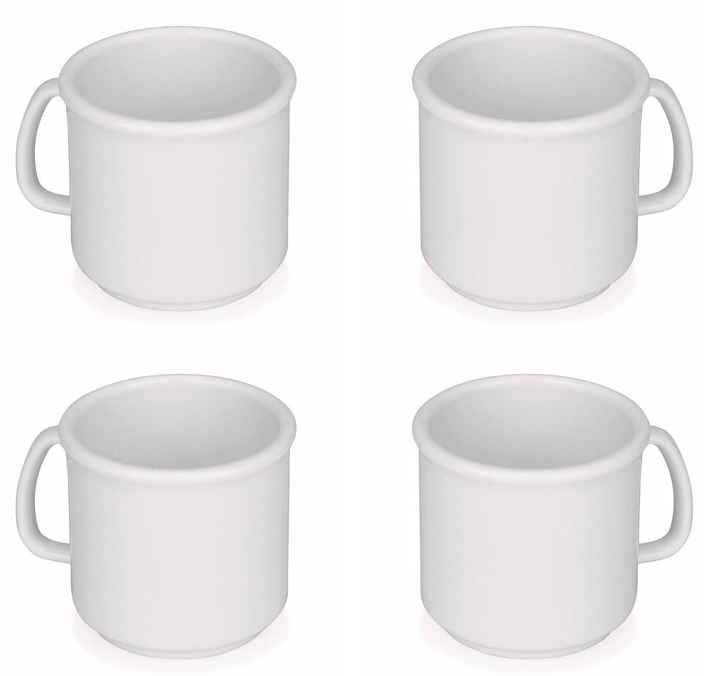 Viva Haushaltswaren–4 tazze di caffè/da0,3L, colore Bianco, senza BPA, impilabile, in polipropilene (grande tazza/tazze per caffè, tè, Acqua) per esterni e campeggio - #20012#