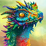 DIY 5D Diamond Painting by Number Kits, Crystal Rhinestone Diamond Embroidery Paintings Pictures Arts Craft for Home Wall Decor, Full Drill Canvas,Oil Painting Chameleon (LX-bselong-212-15.7x15.7in)