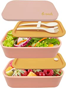 UPTRUST Bento Lunch Box -Stackable Lunch container for kids Work/School Lunch Packing and Meal prep - BPA Free - Food Grade containers, Big Volume-1600ML (Yellow-Pink)